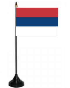 Serbia No Crest Desk / Table Flag with plastic stand and base.